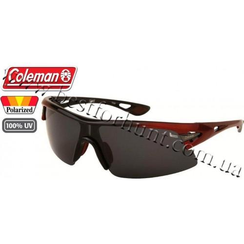 Coleman® TR90 Sport™ Polarized Sunglasses Black & Burgundy Frame Smoke Lens CC2 6501-C1