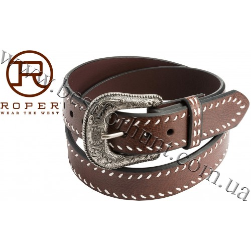 Roper® Heavy Contrast-Corded Edging Leather Belt Brown