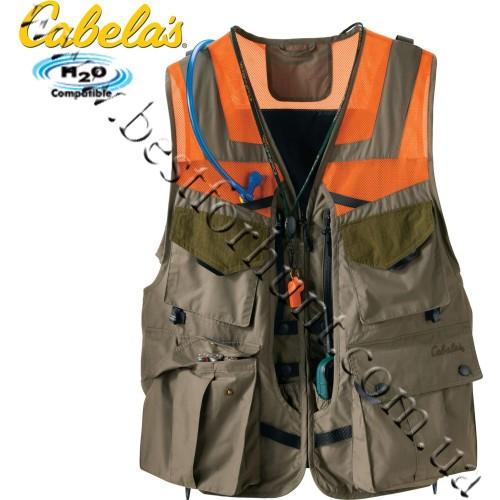 Cabela's Upland Pro Field Dog Vest Khaki-Blaze Orange