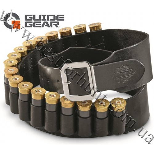 Guide Gear® Leather Shotgun Cartridge Belt 12 gauge Black