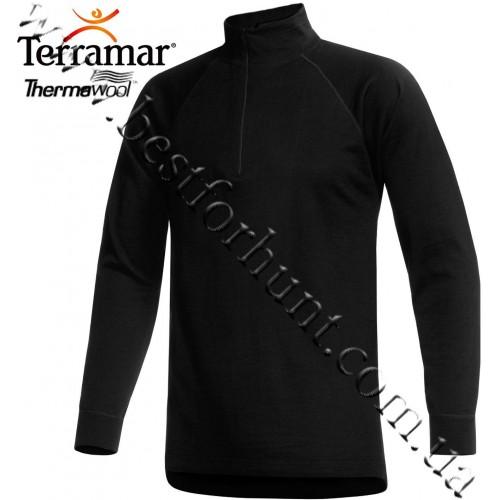 Terramar Woolskins Merino Wool Mock Turtleneck Underwear Shirt Black