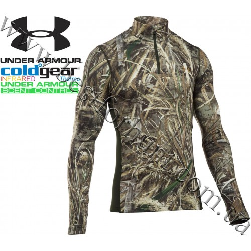 Under Armour® ColdGear® Infrared Armour Scent Control Zip Neck Long Sleeve Shirt Realtree MAX-5®