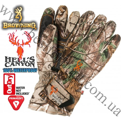 Browning® Hell's Canyon™ OutDry® Waterproof PrimaLoft® Insulated Gloves Realtree Xtra®