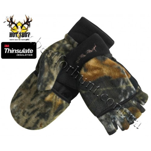 Jacob Ash Hot Shot Camo Fleece Mittens Thinsulate® Flip-Top Mossy Oak® Break-Up®