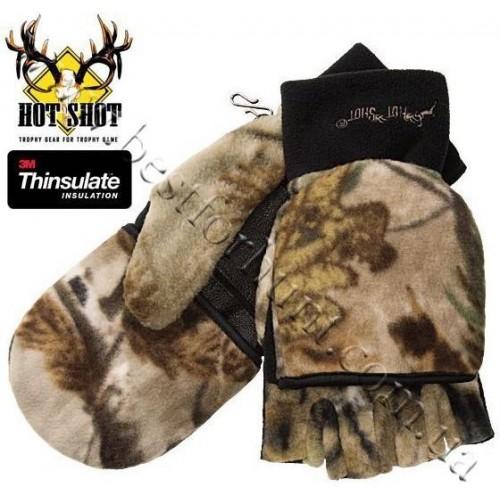 Jacob Ash Hot Shot Camo Fleece Mittens Thinsulate® Flip-Top Realtree AP