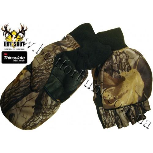 Jacob Ash Hot Shot Camo Fleece Mittens Thinsulate® Flip-Top Realtree Hardwoods HD®