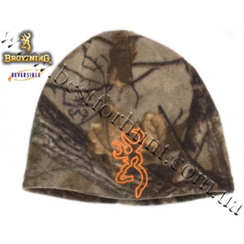 Browning® All Season Reversible Fleece Beanie Realtree Xtra®-Blaze Orange