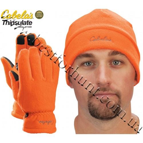 Cabela's Camo Polar-Weight Fleece Gloves Hat Combo Blaze Orange