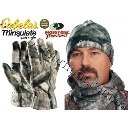 Cabela's Camo Polar-Weight Fleece Gloves Hat Combo Mossy Oak® Treestand®