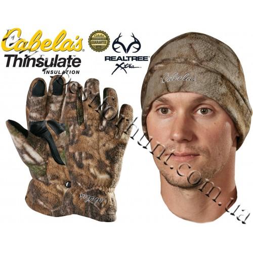 Cabela's Camo Polar-Weight Fleece Gloves Hat Combo Realtree Xtra®