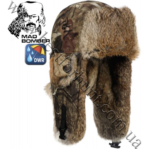 Mad Bomber® Canvas Bomber Mossy Oak® Break-Up® Infinity™ with Brown Rabbit Fur