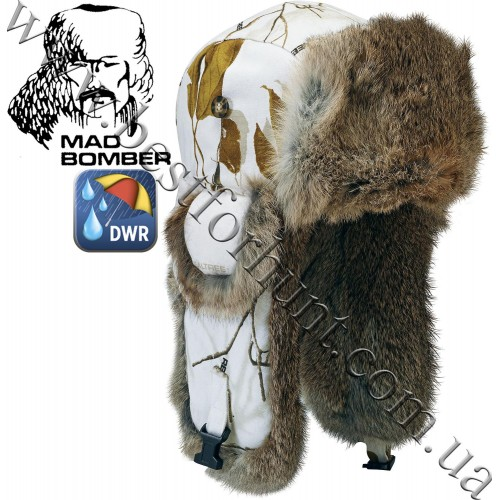 Mad Bomber® Canvas Bomber Realtree AP® Snow with Brown Rabbit Fur