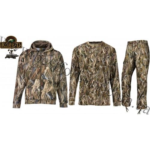 RedHead® Tech Fleece Full Zip Camo Jacket with Pants and T-Shirt Hunting Set True Timber® DRT™