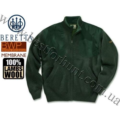 Beretta® Wind Barrier Full Zip Sweater with Pockets PU150 Forest Green