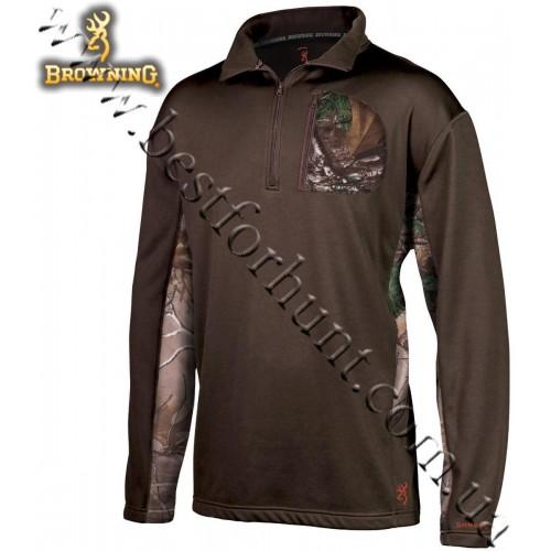 Browning® Beam 1/4-Zip Long Sleeve Pullover Brown-Realtree Xtra®
