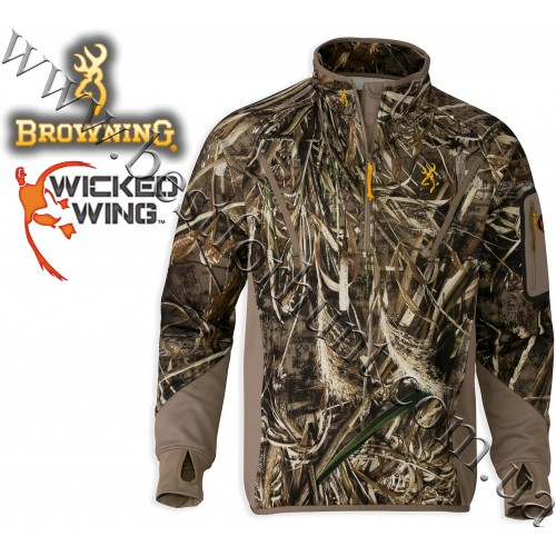 Browning® Wicked Wing™ Smoothbore Fleece 1/4 Zip Neck Pullover Realtree MAX-5®