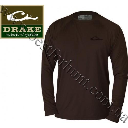 Drake Waterfowl® Lab with Ducks Long Sleeve Tee Dark Chocolate