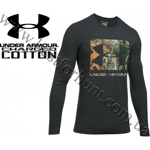 Under Armour® Camo Knockout Long Sleeve Hunting Graphic T-Shirt Black Medium Heather with Realtree Xtra®