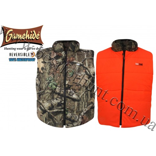 Gamehide® Deer Camp Reversible Hunting Vest Mossy Oak® Break-Up® Infinity™-Blaze Orange