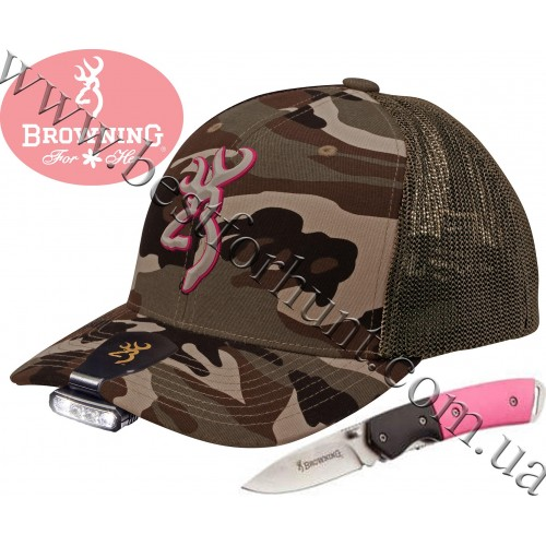 Browning® Ladies Camo Cap and Night Seeker 2™ Cap Light and Knife Combo