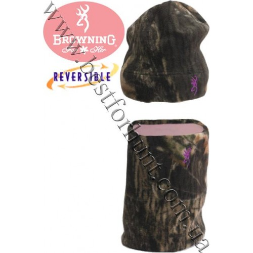 Browning® Reversible Beanie and Neck Gaiter Combo Mossy Oak® Break-Up®-Pink