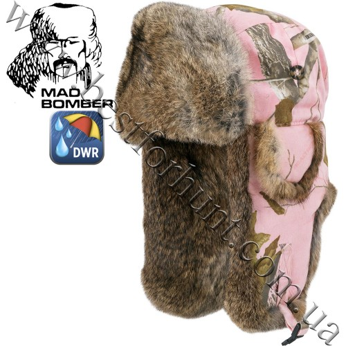 Mad Bomber® Canvas Bomber Realtree AP® Pink with Brown Rabbit Fur