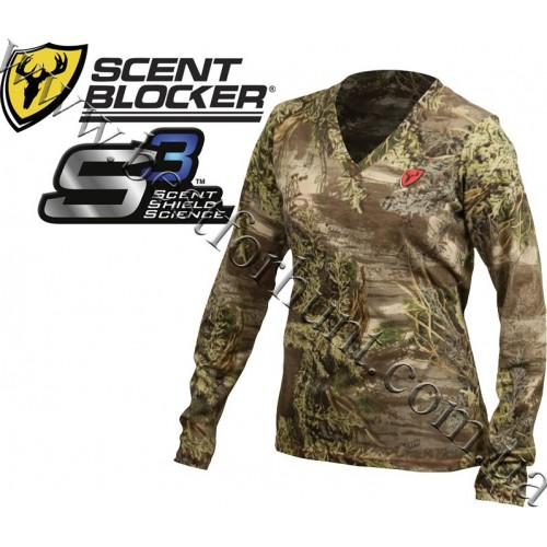 ScentBlocker® Ladies S3™ Fused Cotton Long Sleeve T-Shirt Realtree MAX-1®