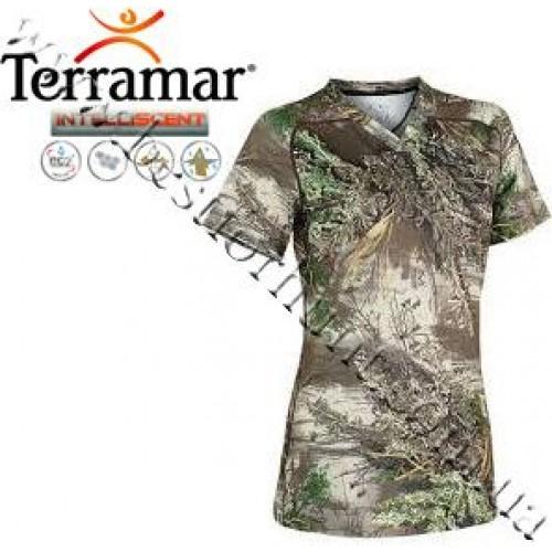 Terramar® Women's Stalker™ INTELLISCENT™ Camo Essentials V-Neck T-Shirt Realtree MAX-1®
