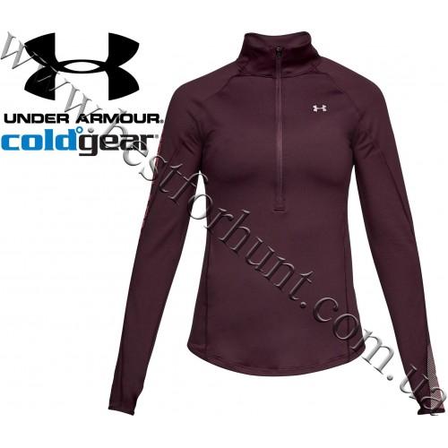 Under Armour® Women's ColdGear® Base Layer 1/2 Zip Long Sleeve Shirt Raisin Red