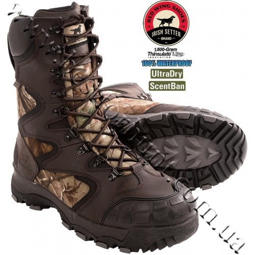 "Irish Setter® 12"" SnowShield 1'600-gram Insulated Hunting Boots Realtree AP® 2896"