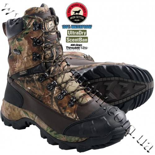 """Irish Setter 9"""" Grizzly Tracker™ 400-gram Insulated Waterproof Hunting Boots Realtree AP® 2819"""
