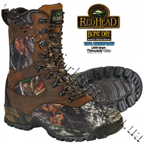 """RedHead® 9"""" Bone-Dry® Expedition 1'000-gram Insulated Hunting Boots Mossy Oak® Break-Up®"""