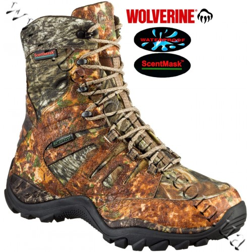 """Wolverine® 8"""" 8-Point Non-Insulated Waterproof Hunting Boots Mossy Oak® Break-Up®"""