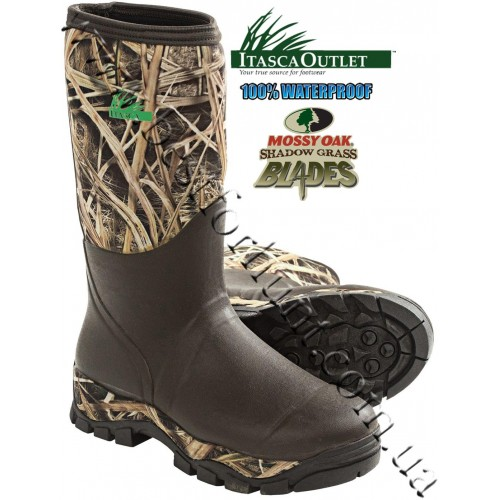 """Itasca™ 15"""" Bayou Everglades Waterproof Rubber Hunting Boots Mossy Oak® Shadow Grass® Blades™"""
