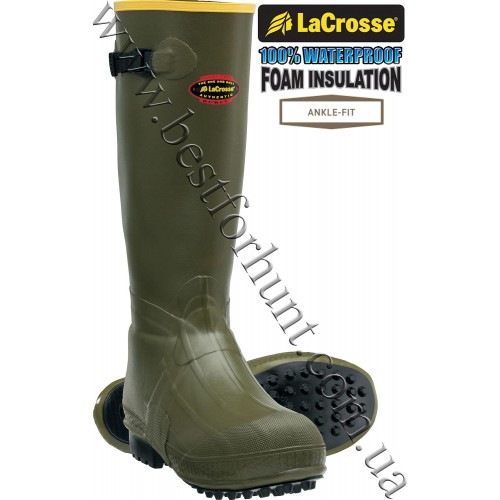 """LaCrosse® 18"""" Burly® Foam Insulated Air-Grip Rubber Hunting Boots Green"""