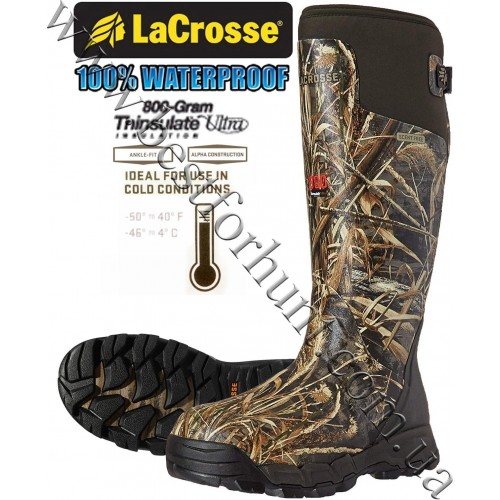 """LaCrosse® Alphaburly Pro™ 18"""" 800-gram Insulated Hunting Boots 376021 Realtree MAX-5®"""