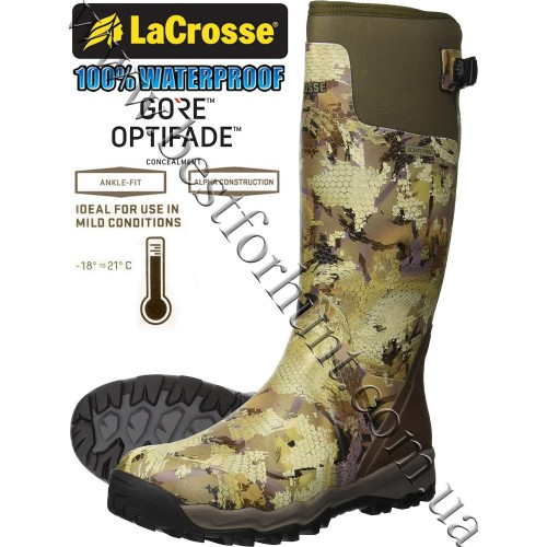 """LaCrosse® Alphaburly Pro™ 18"""" Uninsulated Hunting Boots 376010 GORE™ OPTIFADE™ Concealment Waterfowl Marsh"""