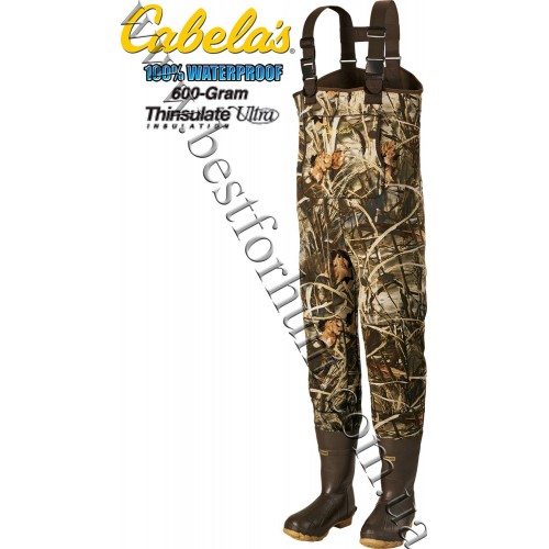 Cabela's 3mm Neoprene Chest Waders with Lug Soles with 600-gram Thinsulate™ Realtree MAX-4®