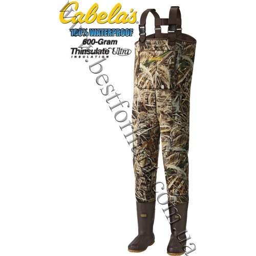 Cabela's 3mm Neoprene Chest Waders with Lug Soles with 600-gram Thinsulate™ Realtree MAX-5®