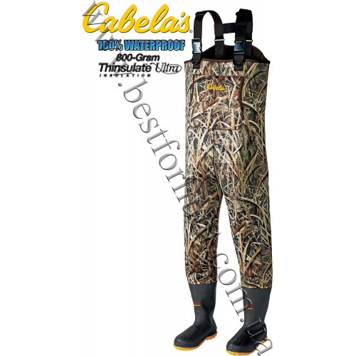Cabela's 5mm Neoprene Chest Waders with Lug-Soles with 800-gram Thinsulate™ Mossy Oak® Shadow Grass® Blades™