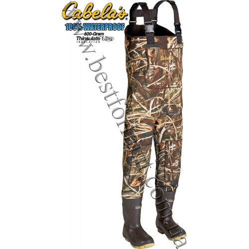 Cabela's 5mm Neoprene Chest Waders with Lug Soles with 800-gram Thinsulate™ Realtree MAX-4®