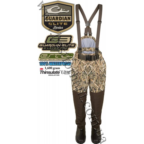 Drake® Waterfowl Guardian Elite™ Uninsulated Breathable Waist-High Waders Pants with 1600 gram Thinsulate™ Boot Lining Mossy Oak® Shadow Grass® Blades™
