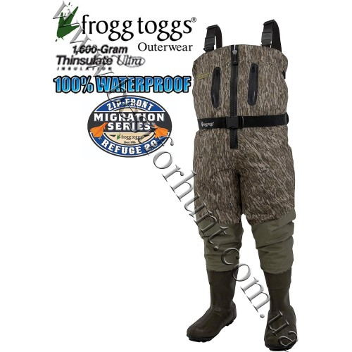 Frogg Toggs® Grand Refuge 2.0™ Zip Front Breathable 1'600-gram Insulated Wader Mossy Oak® Bottomland®