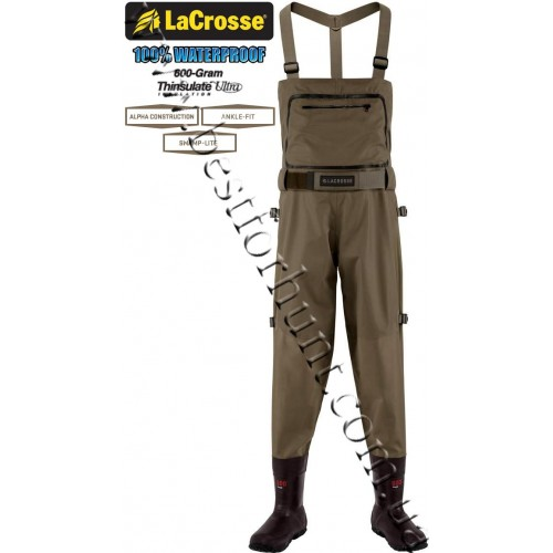 LaCrosse® Alpha Swampfox™ 600-gram Insulated Drop Top Chest Waders Brown